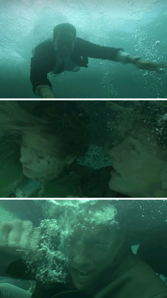 Tony swims down to save Gibbs in a car filled iwth water