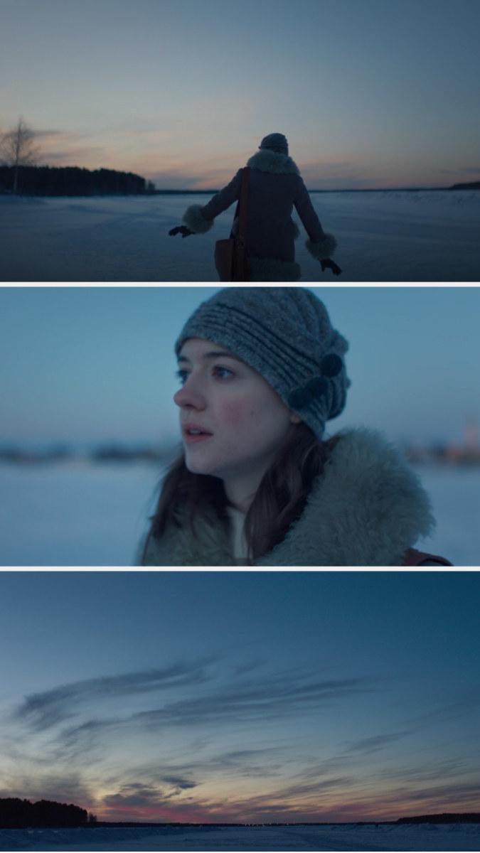 Marianne walking on a snowy landscape