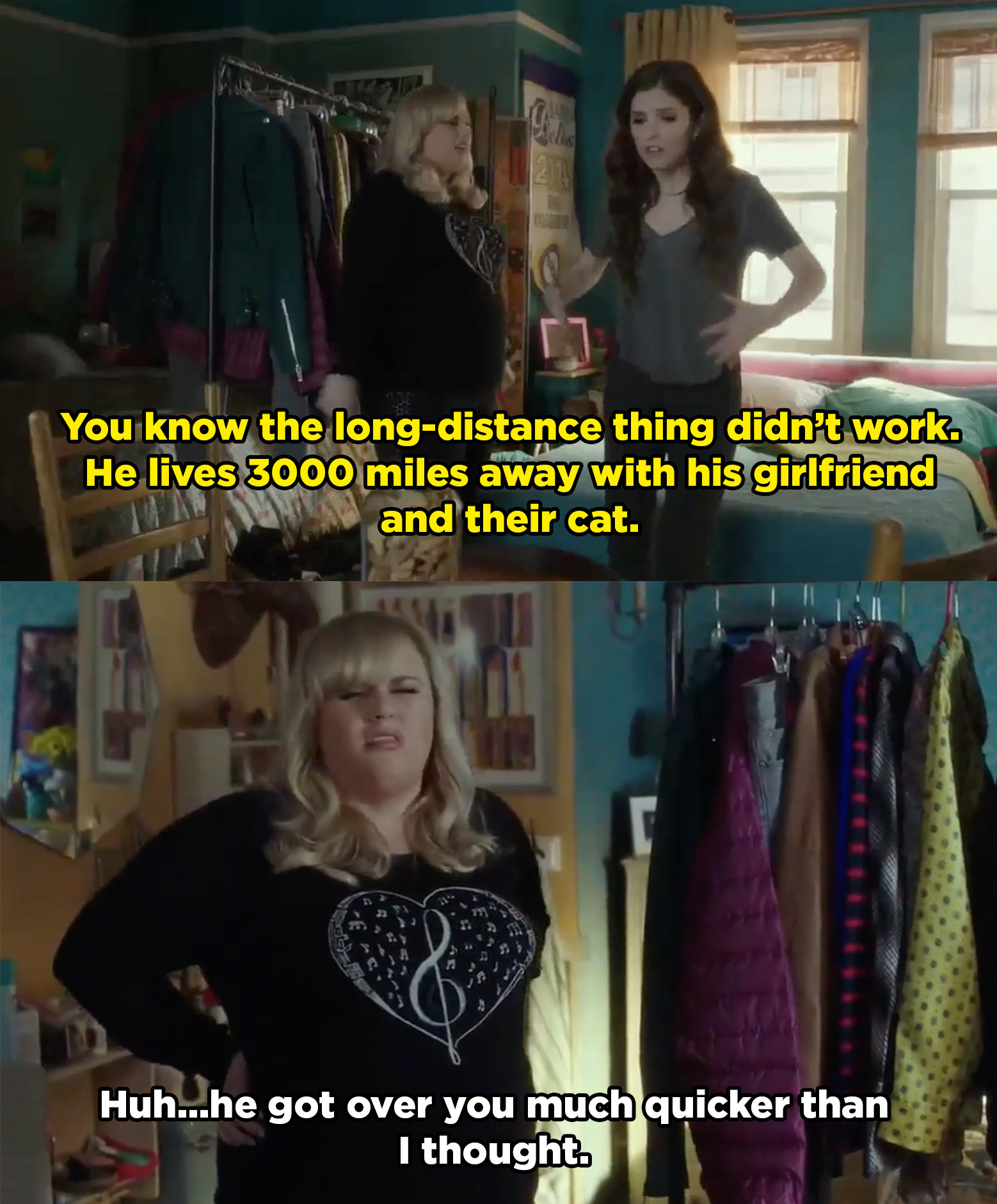 Beca tells Amy that her long distance relationship with Jesse didn't work because he lives 3000 miles away with his new girlfriend. Amy is surprised he got over her so quickly.