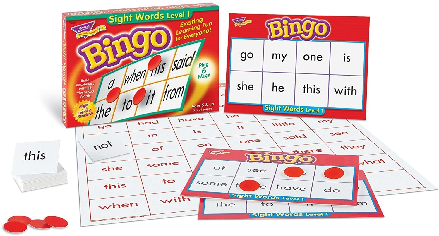 The Sight Words Bingo game with word board, cards, and red circles