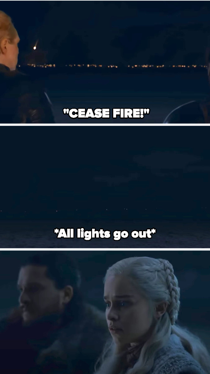 the Dothraki charge, then all their lights go out as Daenerys and Jon watch in horror