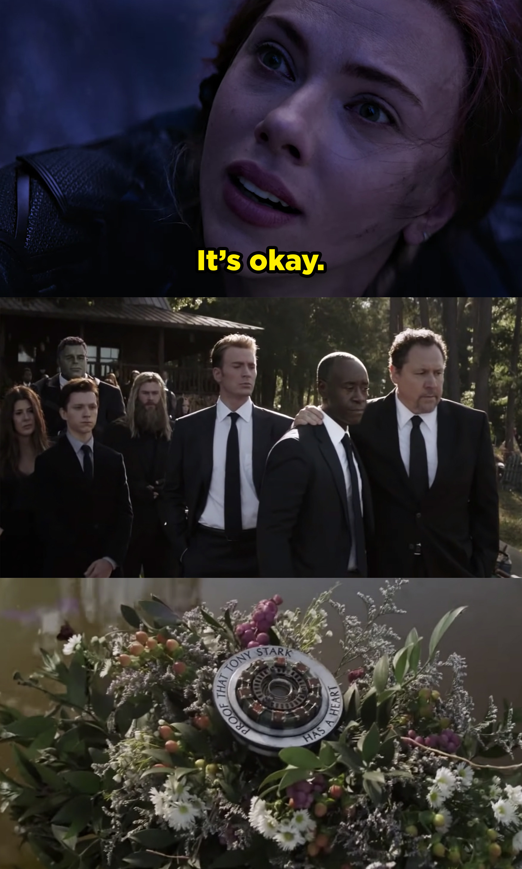 Black Widow right before she dies and the rest of the Avengers at a funeral for Tony Stark.