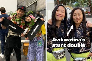 Simu Liu and Meng'er Zhang posing for a photo, Awkwafina and her stunt double