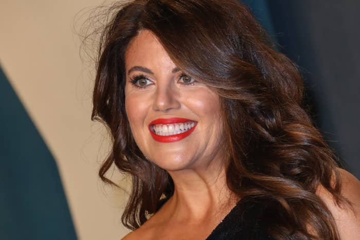 Lewinsky smiles at a red carpet event