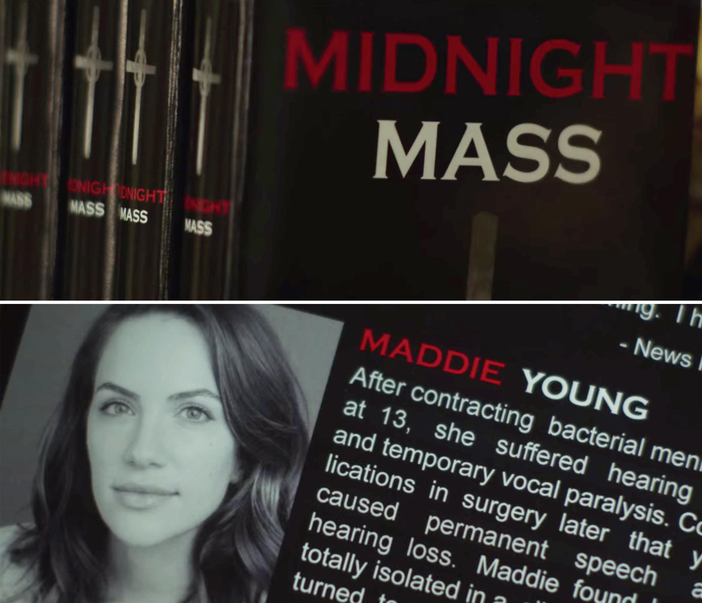 """Livro fictício de """"Midnight Mass"""" tem aparição no filme """"Hush"""" (2016)."""