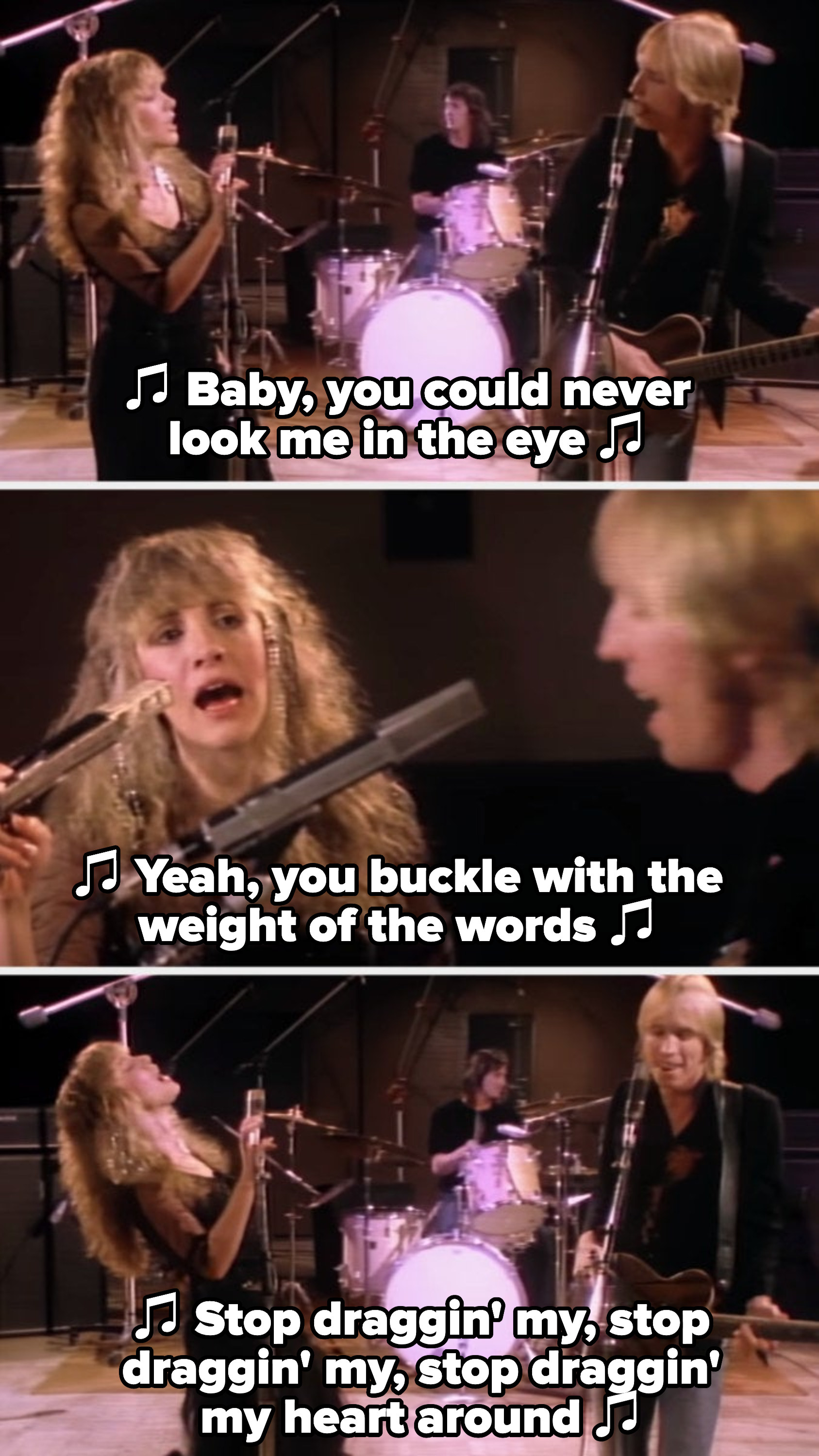 """Nicks and Petty in their """"Stop Draggin' My Heart Around"""" music video, singing: """"Baby, you could never look me in the eye; yeah, you buckle with the weight of the words"""""""