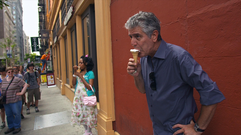 Anthony Bourdain eats ice cream