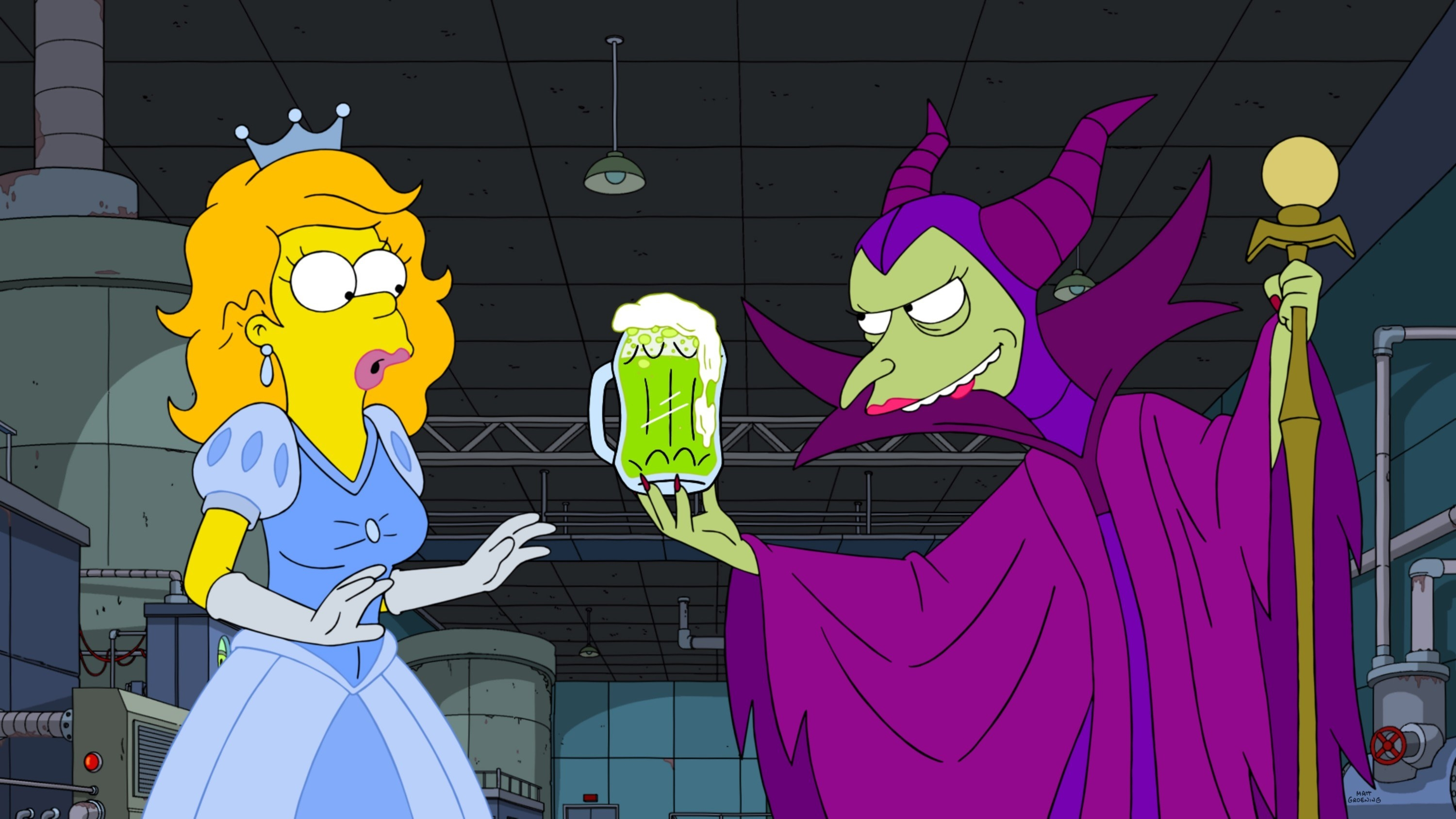 Homer as Cinderella and Mr. Burns as Maleficent