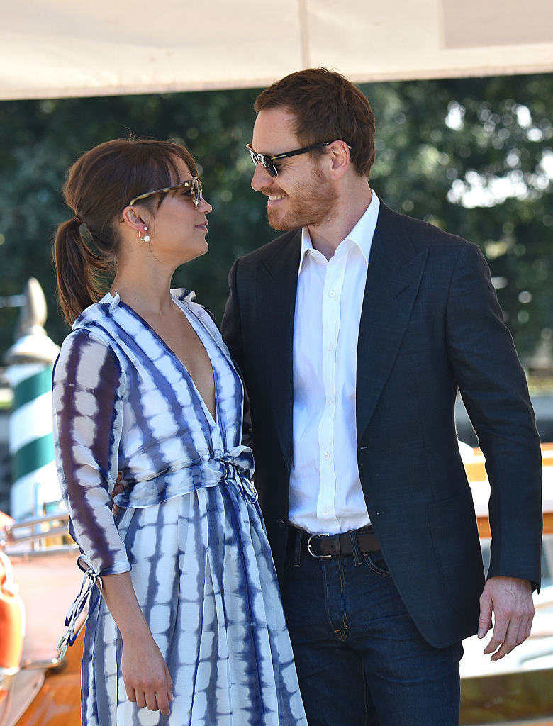 Michael Fassbender (R) and Alicia Vikander are seen during the 73rd Venice Film Festival