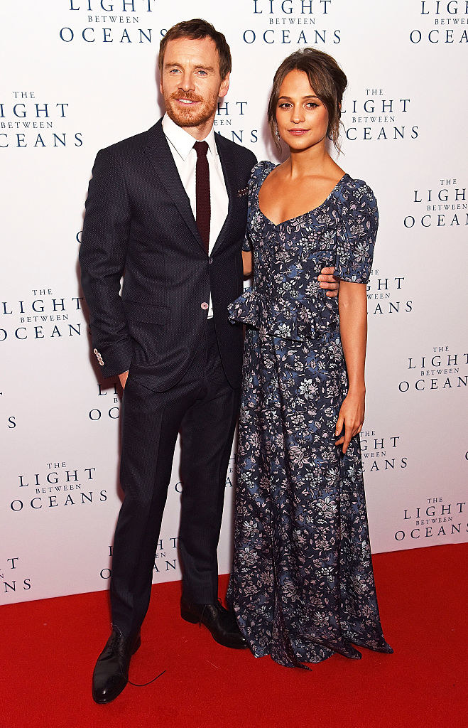 """Michael Fassbender (L) and Alicia Vikander attend the UK Premiere of """"The Light Between Oceans"""""""
