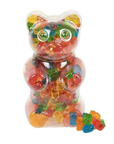 the bear-shaped gummy container with rainbow gummy bears