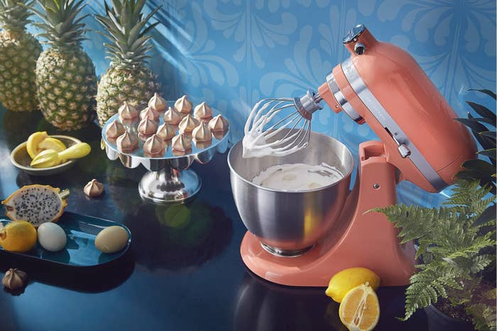 the light orange stand mixer making meringue