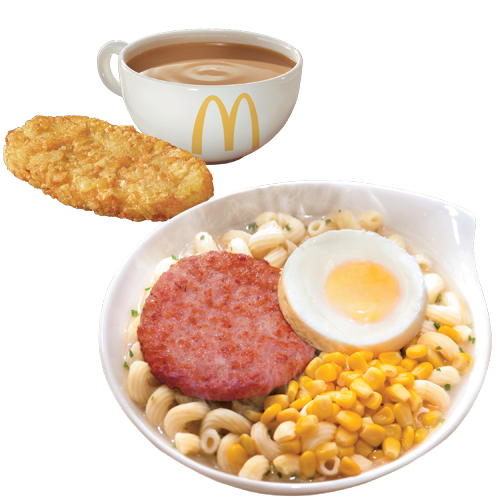 Twisty pasta noodles in a light broth topped with a grilled ham slice a cooked egg, and a side of hashbrowns and tea