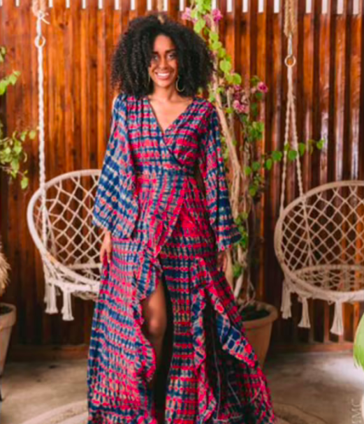 A model wearing the Sally dress