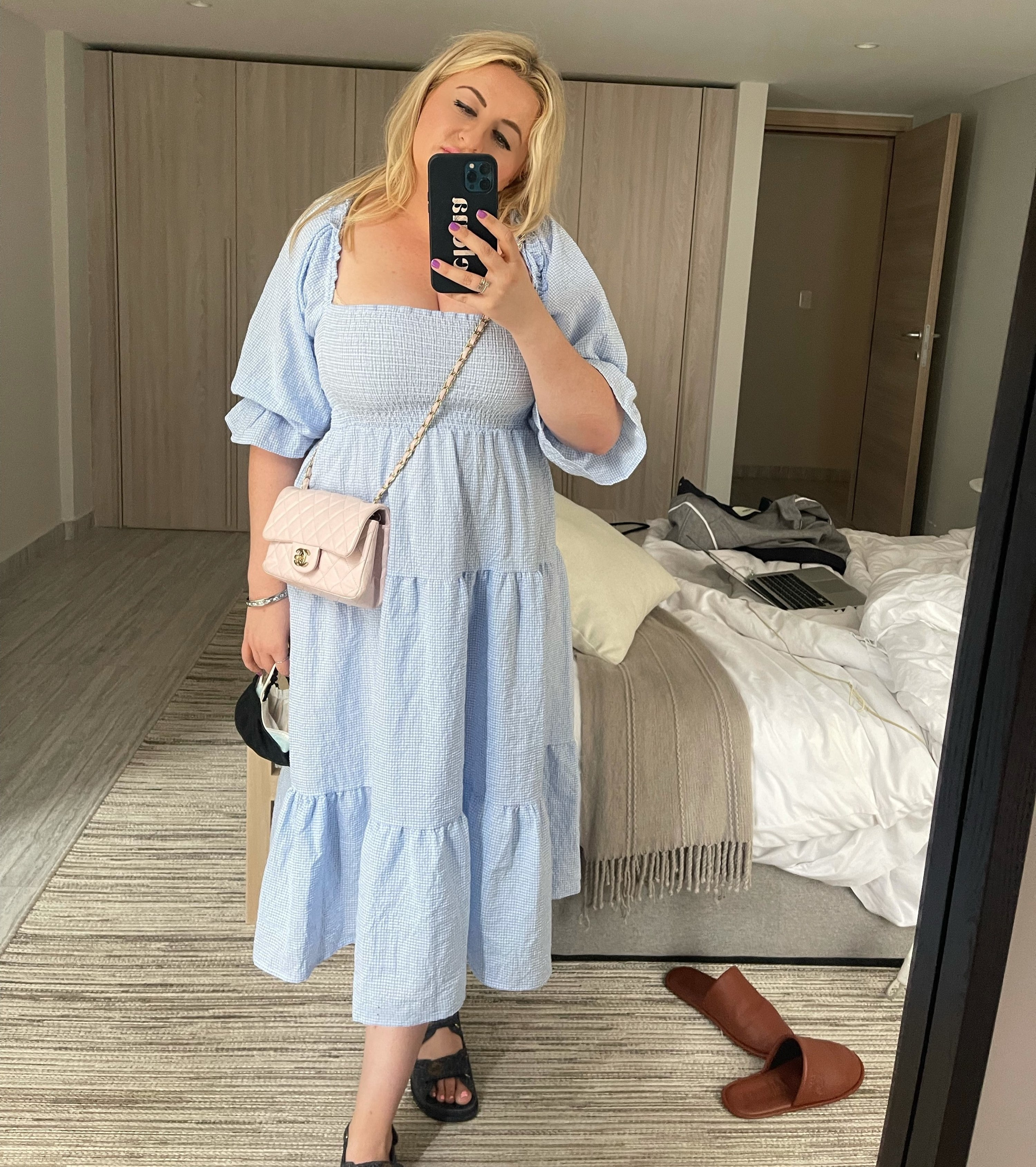 The author in the dress in blue