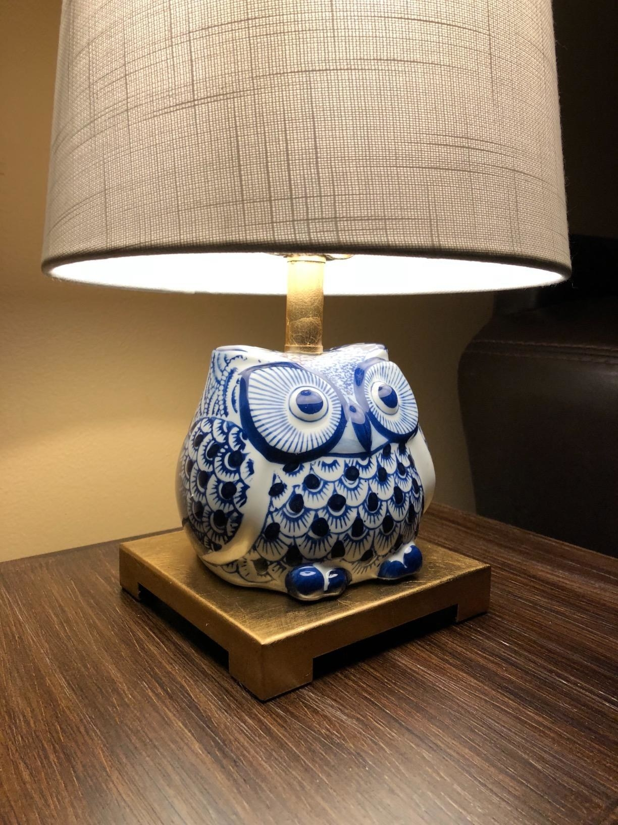 Reviewer's close up of the owl lamp