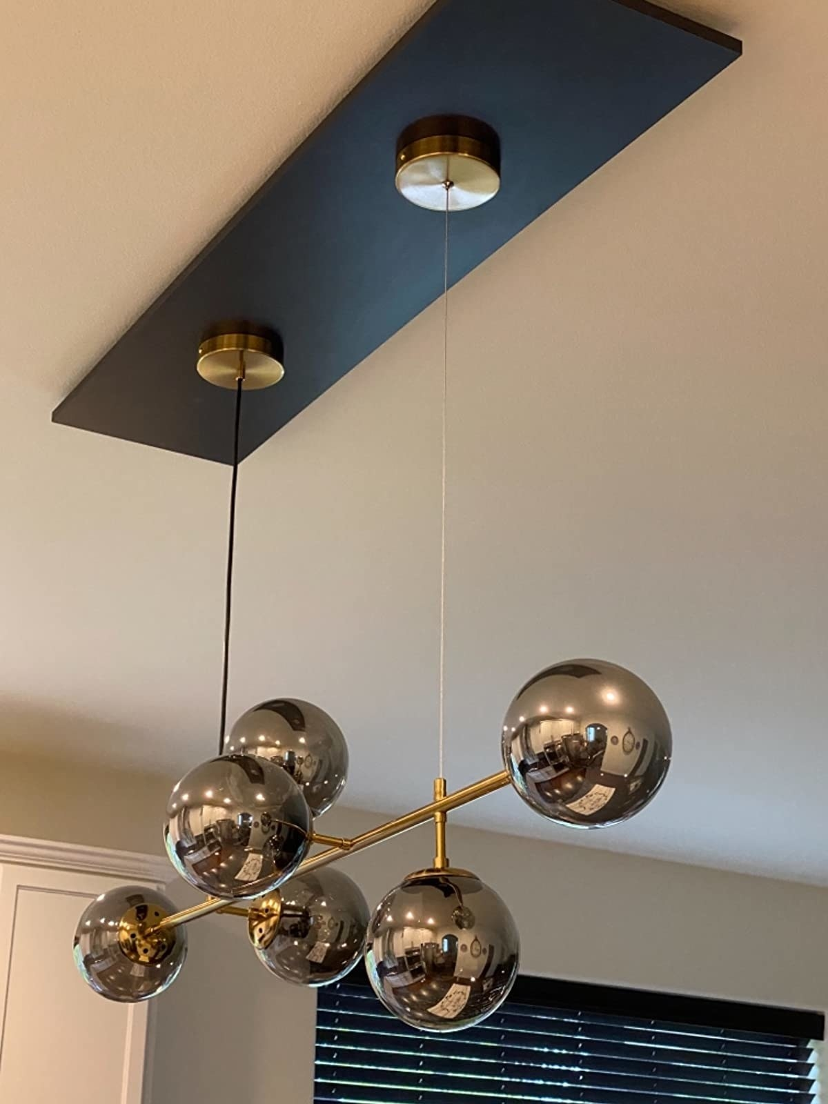 Reviewer's chandelier is shown close up