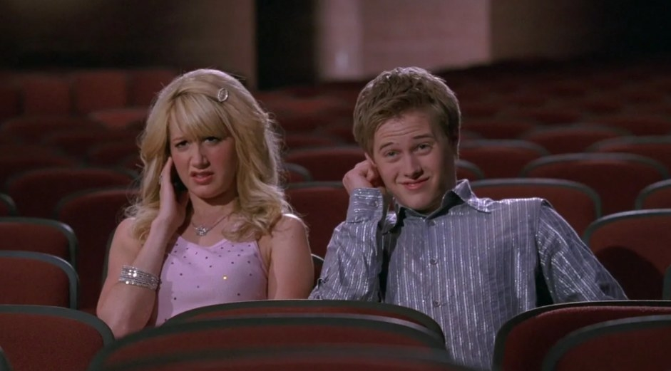 Sharpay and Ryan sit in an empty theatre covering the ear and pulling uncomfortable faces