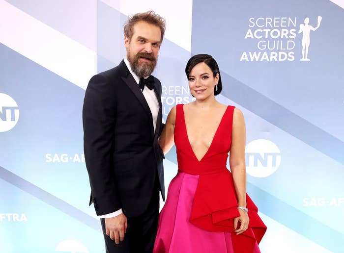 (L-R) David Harbour and Lily Allen attend the 26th Annual Screen Actors Guild Awards