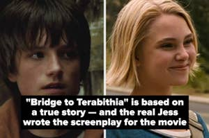 """Side by side images of Jess and Leslie with the text """"Bridge to Terabithia is based on a true story — and the real Jess wrote the screenplay for the movie"""