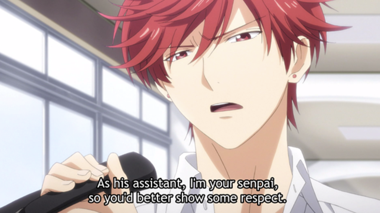 """A red haired anime character saying: """"As his assistant, I'm your senpai, so you'd better show some respect"""""""