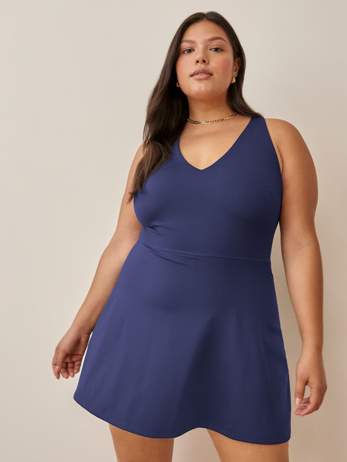 model wearing the navy dress
