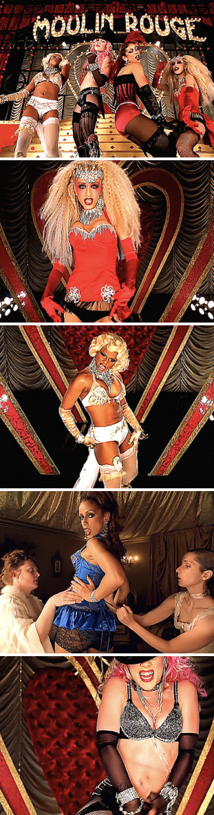"""Aguilera,Mýa, Pink, and Lil' Kim dancing in their """"Lady Marmalade"""" music video"""