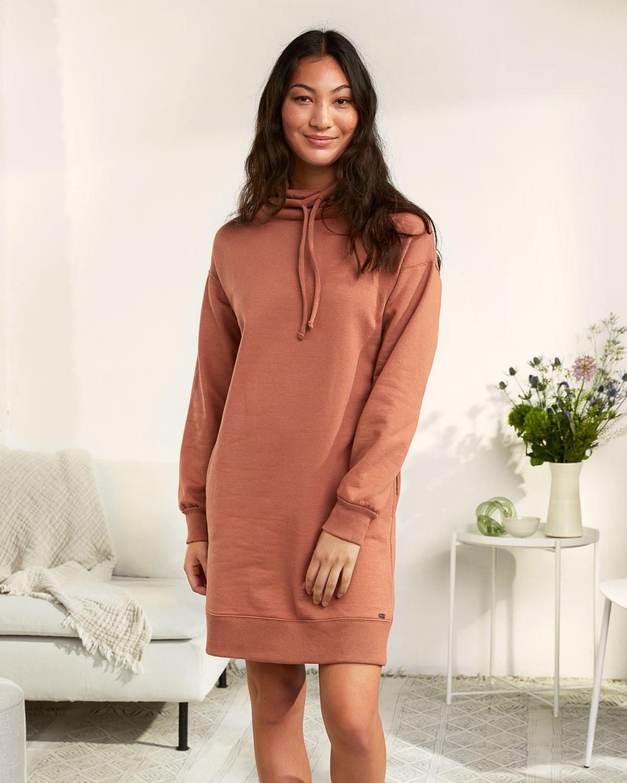 model wearing the sweatshirt dress