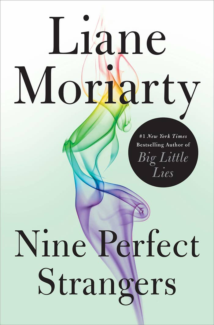 Book cover for Nine Perfect Strangers which featured wisps of multicolored smoke
