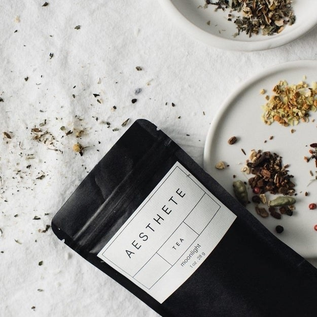 """Bag of loose leaf tea that syas """"Aesthete Tea moonlight"""" on the front"""