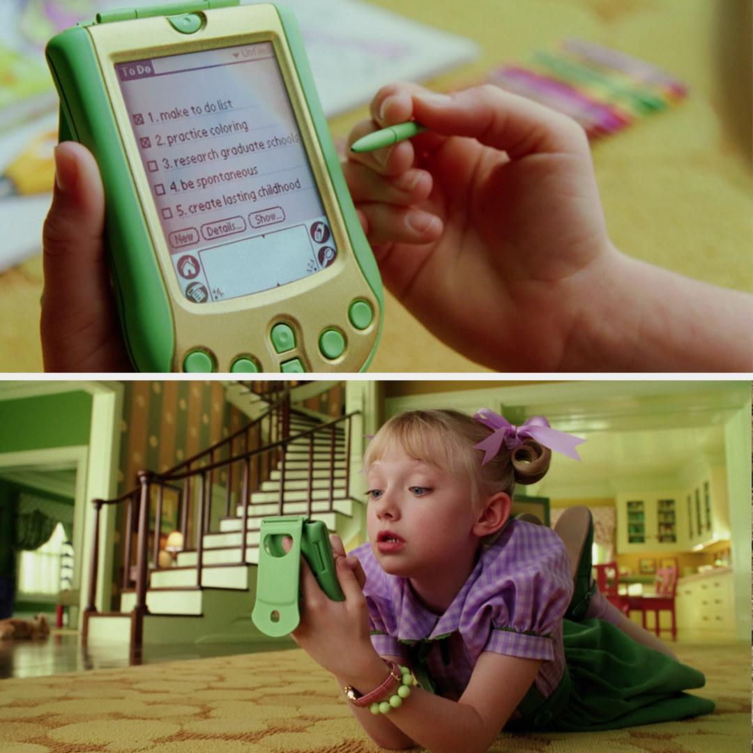 Sally checks off items on her PDA