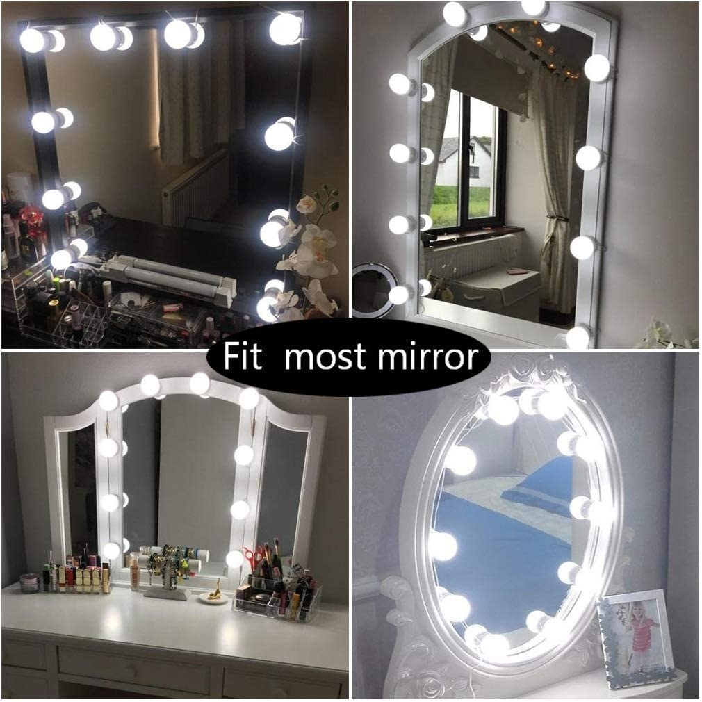 The strand of lights on four different mirror styles