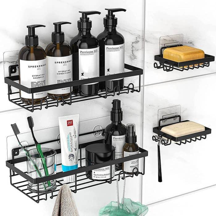 sleek black shower caddies with products inside