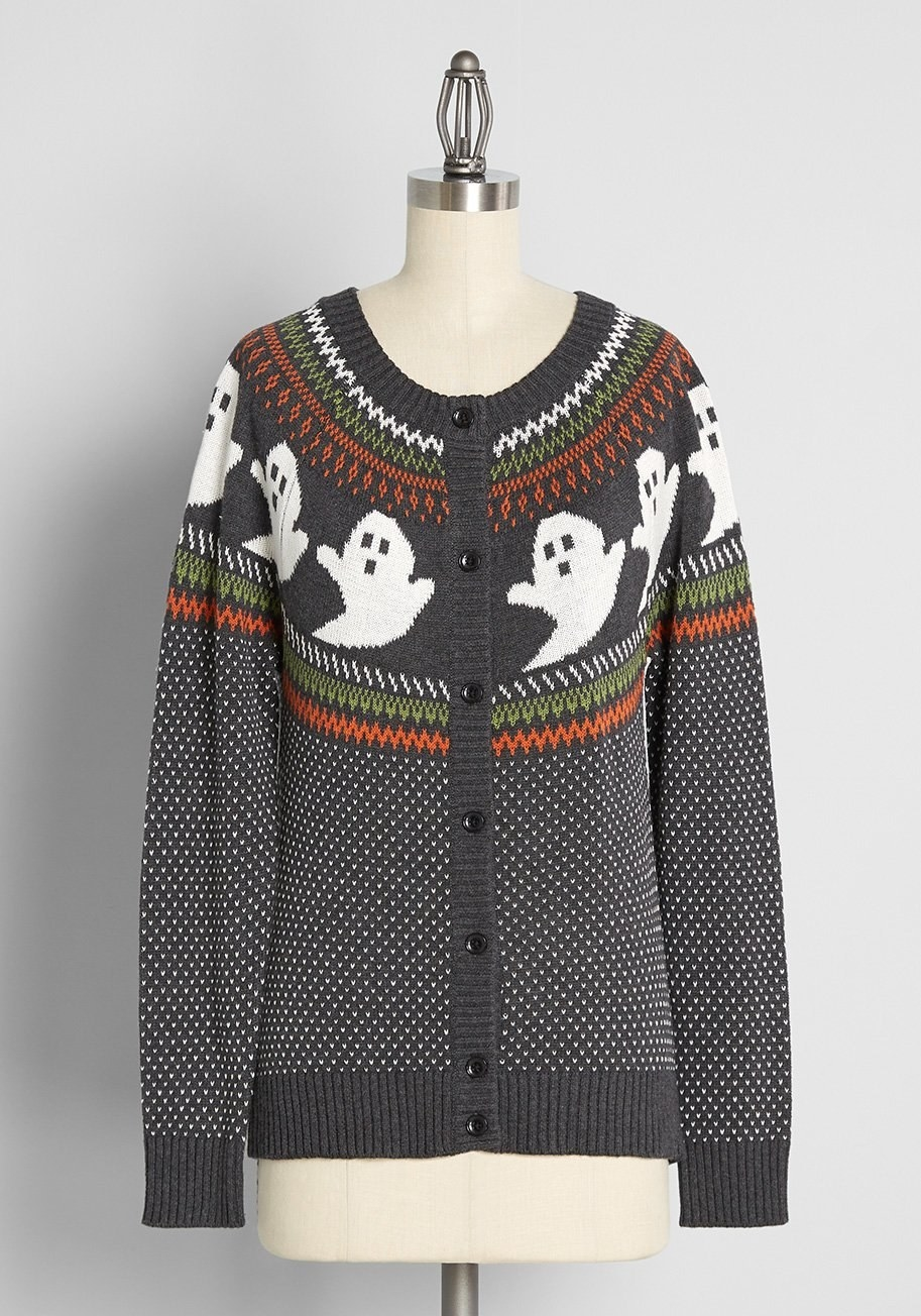 button-down sweater with ghosts on it