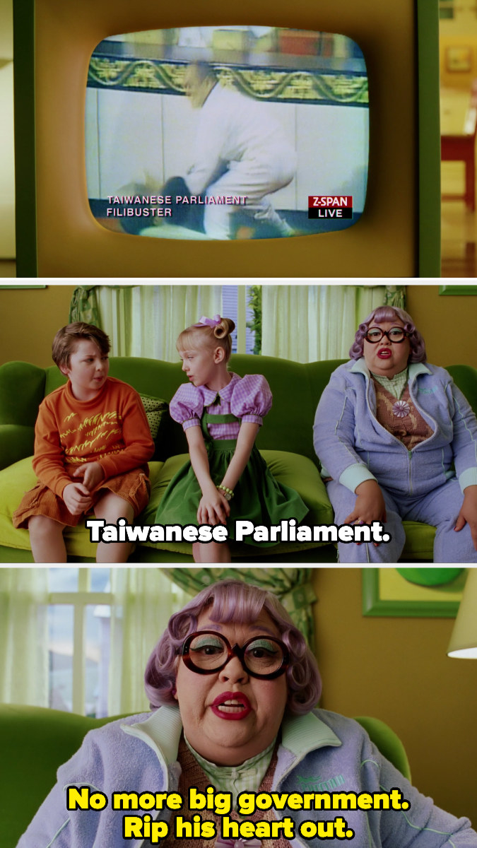 """Mrs. Kwan watches the Taiwanese Parliament, where people are physically fighting, and says """"no more big government. rip his heart out."""""""