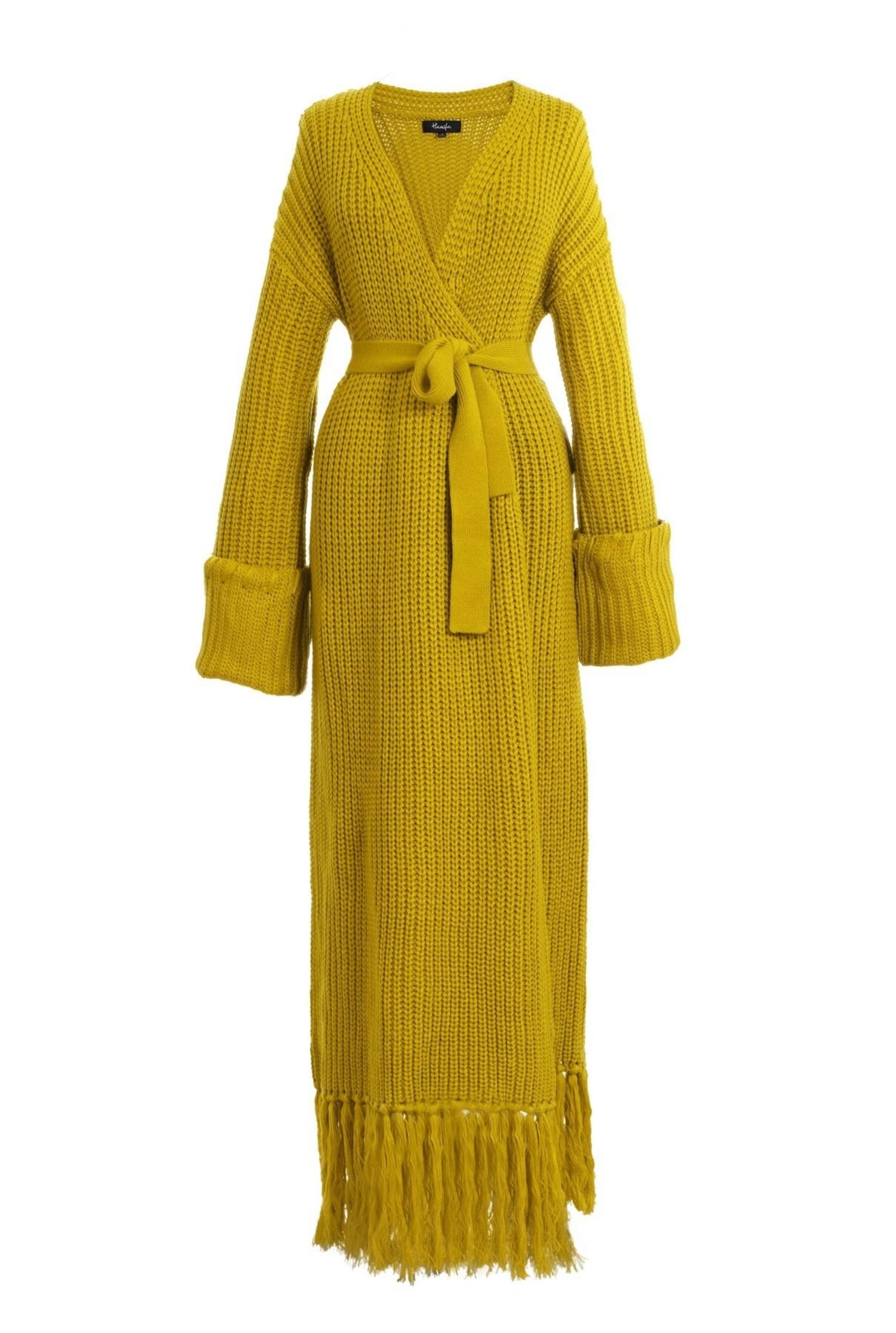 the mustard yellow cardigan dress
