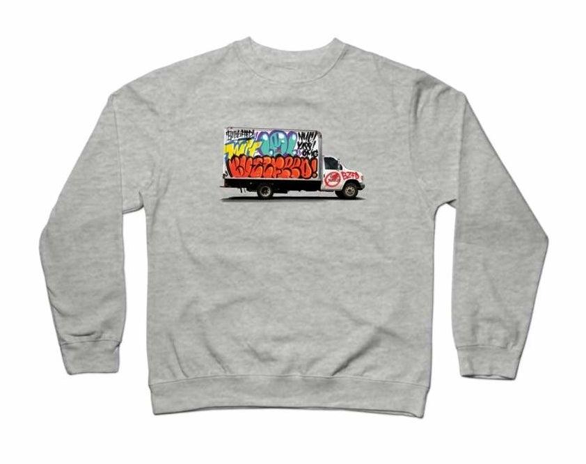 gray sweatshirt with graffiti-truck design and BuzzFeed logo