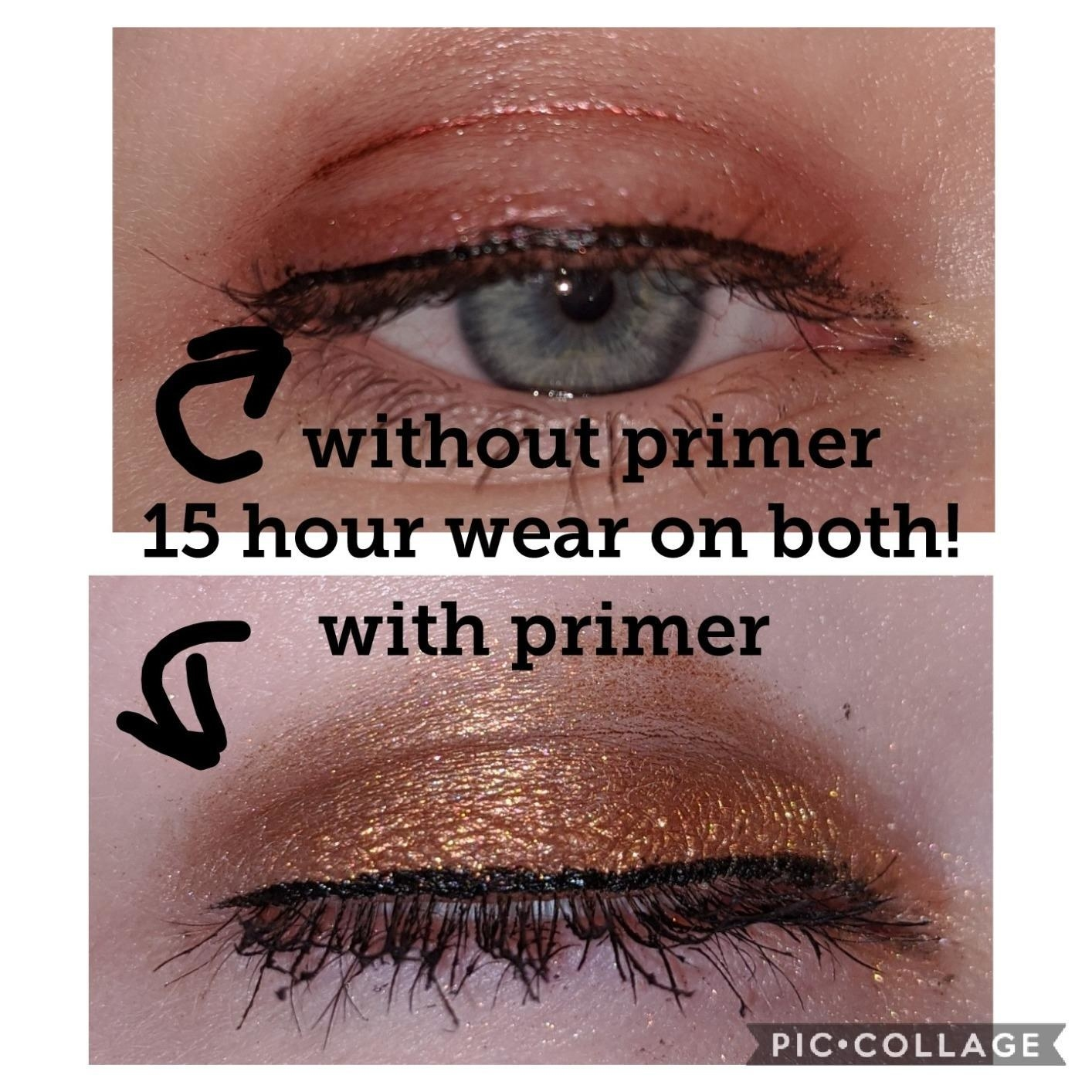 A reviewer showing the difference the primer makes — one photo without primer showing the makeup rubbed off and creased after 15 hours, one with the primer showing the sparkly eyeshadow fully on after 15 hours
