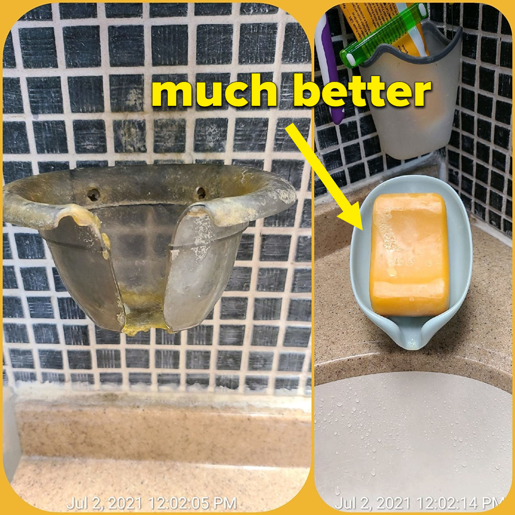 reviewer before and after images; an old gunked up soap holder replaced by the leaf shaped soap holder