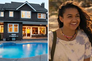 """A two story house with a pool in the backyard has all its window lit up and a smiling Kiara from """"Outer Banks"""""""