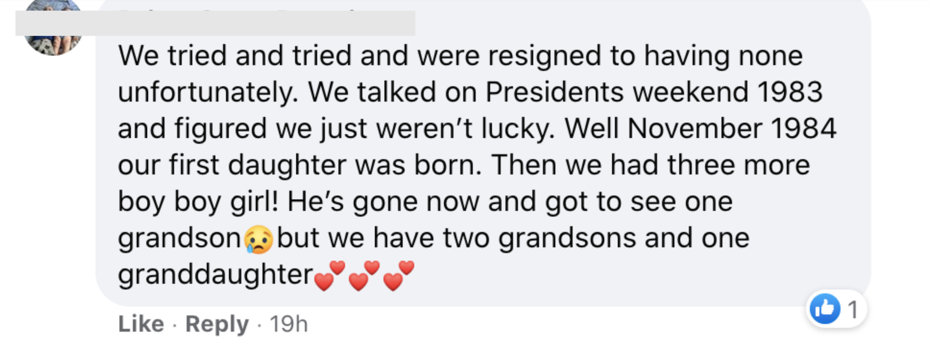 We tried and tried and were resigned to having none unfortunately We talked on President's weekend 1983 and figured we just weren't lucky Well November 1984 our first daughter was born Then we had three more