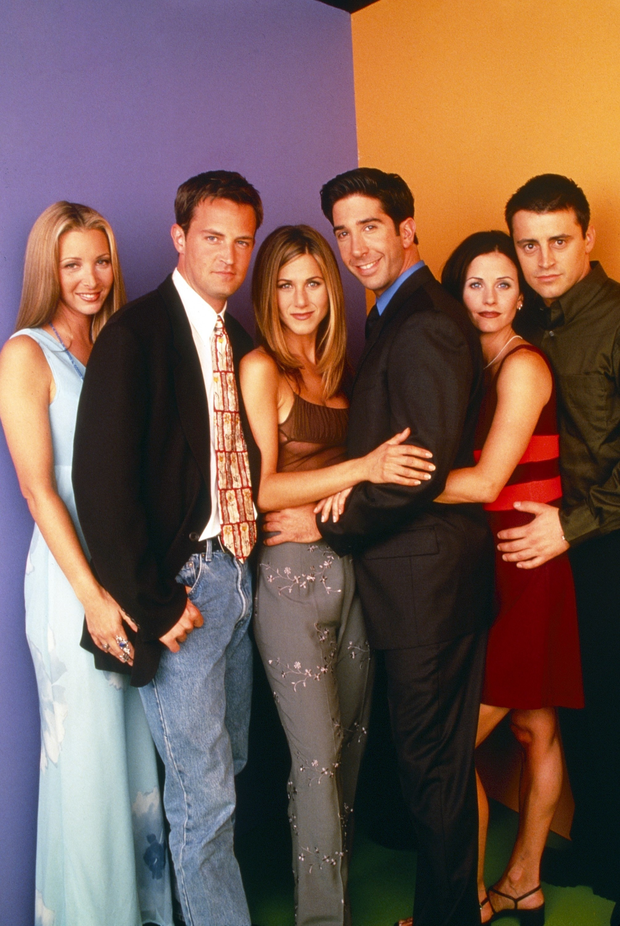 All the Friends in a promotional shot, with Monica and Joey posing together