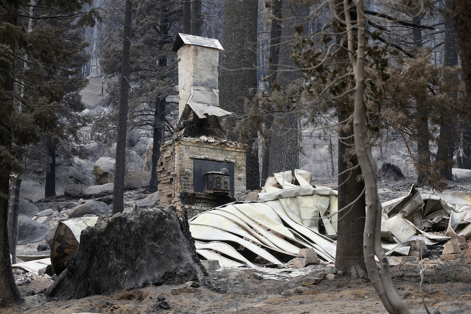 A collapsed roof in a forest sits next to a brick fireplace and chimney that are still standing