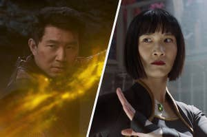 Simu Liu and Meng'er Zhang in Shang-Chi and the Legend of the Ten Rings