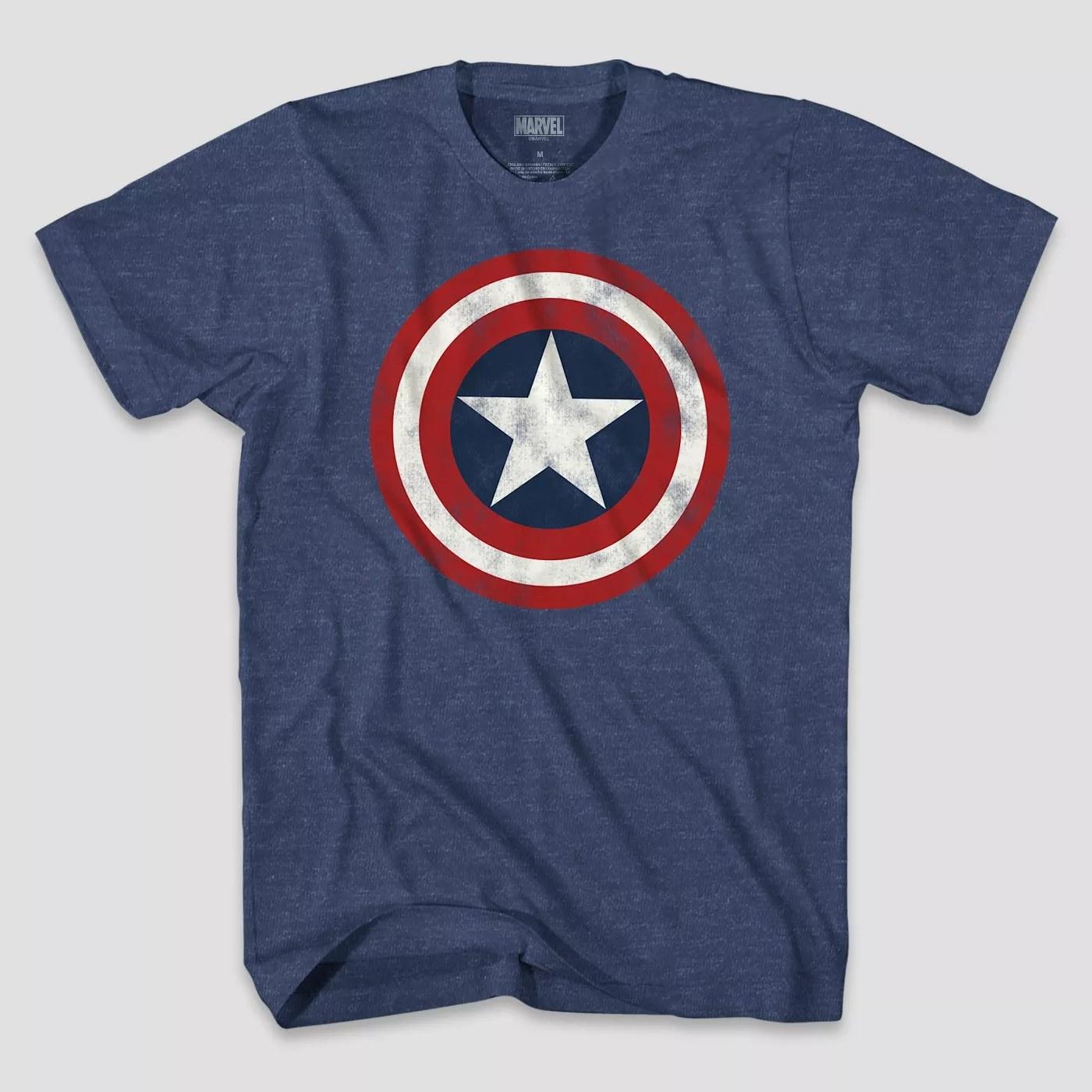 A blue Captain America shirt