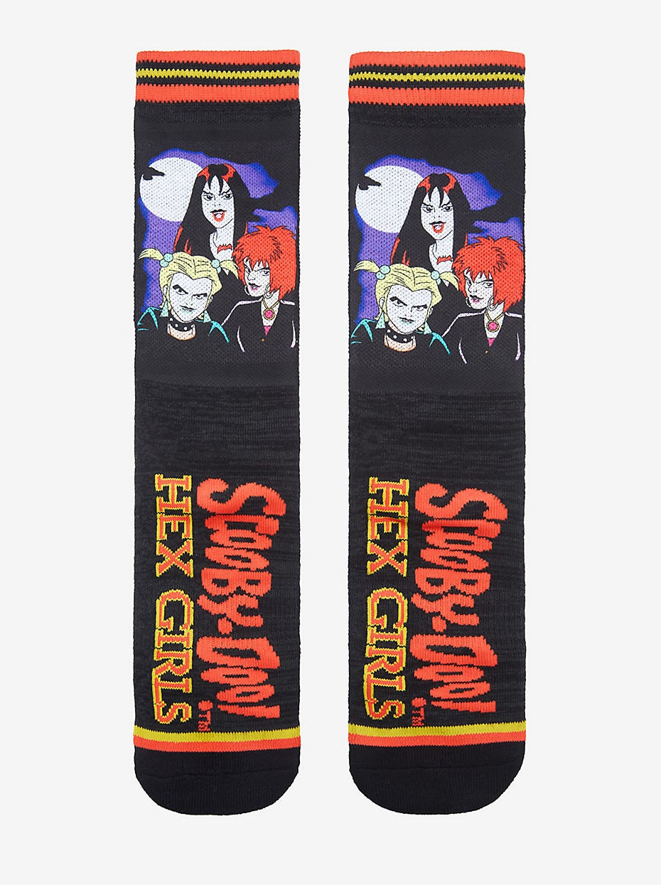 black socks printed with the hex girls and the scooby doo logo