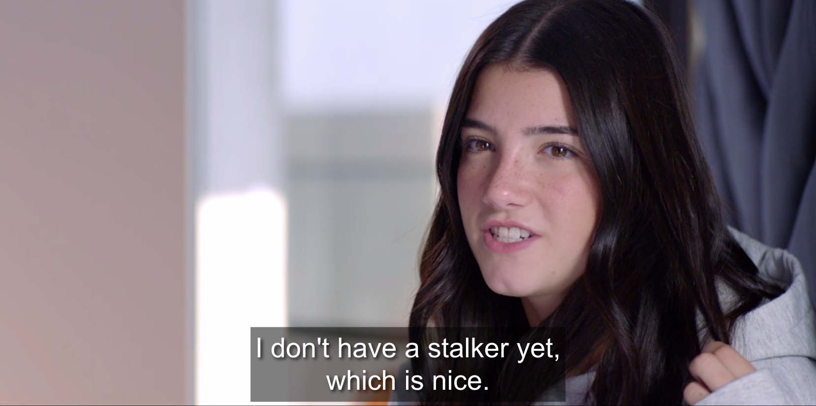 Charli talking about how she doesn't have a stalker