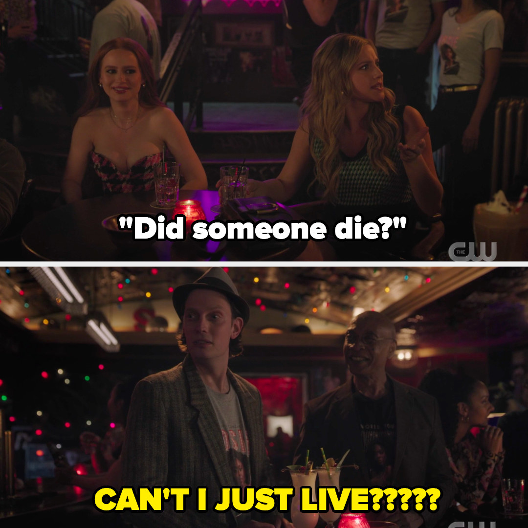Betty asks Curdle if someone died and I wrote the caption can't I just live