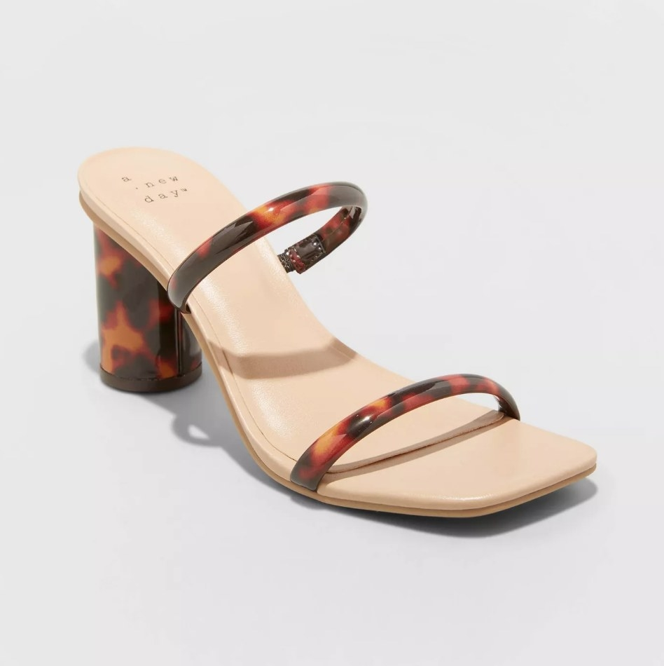 Square heel with tortoise shell block heel and matching straps