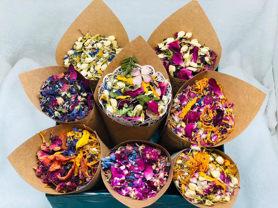 dried flowers in cardboard cones